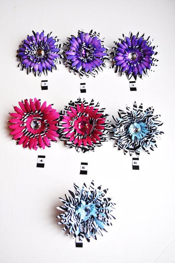 Hot Pink Purple Blue Zebra 5 Hair Flower by ItsAKimThing on Etsy, $4.00