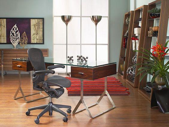 We love this room. CORT's Zara Desk with Eileen Bookshelves.