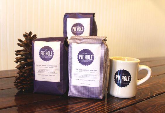 The Pie Hole coffee packaging #coffee #coffeepackaging #bags #packaging #sidegussetbags for more details visit us www.swisspac.com