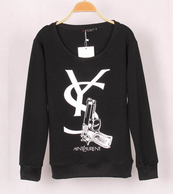 3D Letter Gun Print Hoodies Women Crew Neck Long Sleeve Sweatshirts Pullovers #New #SweatshirtCrew