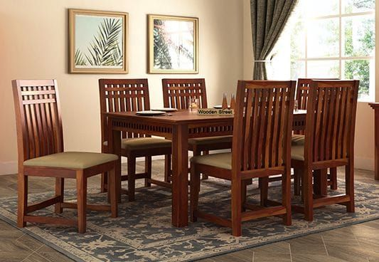Adolph 6 Seater Dining Set Honey Finish 6 Seater Dining Table 8 Seater Dining Table Wooden Dining Table Designs Kitchen table sets for 6