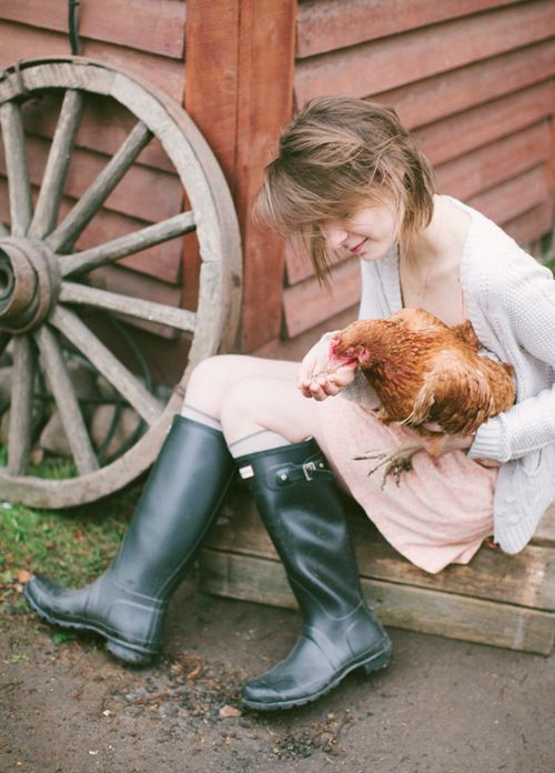 Farm life. Muck boots and chickens.