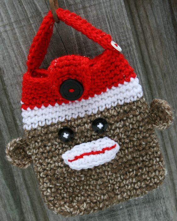 Sock monkey bag tote