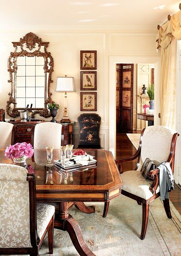 Theodore Alexanders Gabrielle dining table chairs make this