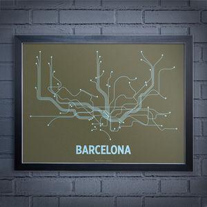 Barcelona Screen Print Grn & Blu