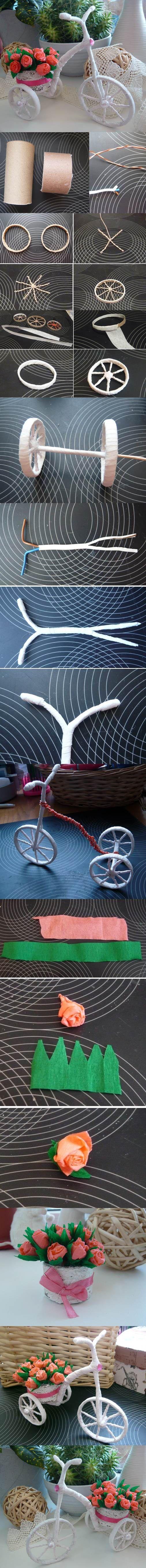 DIY pequeña bici que lleva las flores hermosas Decoración 2