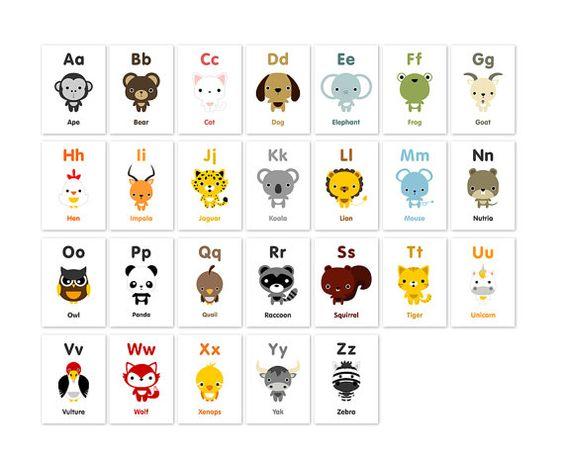 Animal Alphabet Flash Cards Printable PDF | Nursery art, Adorable ...