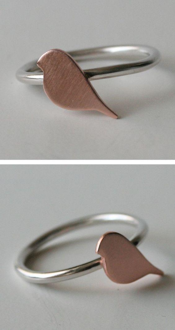 #swag Tiny copper bird ring...