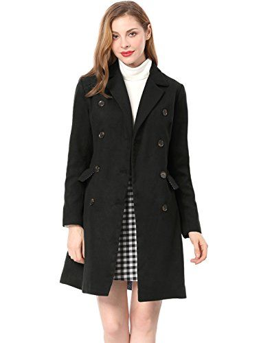 Allegra K Women's Notched Lapel Double Breasted Trench Wo...