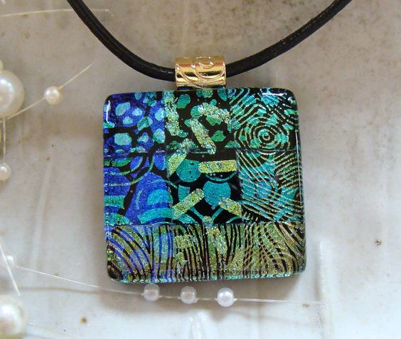 Dichroic Fused Glass Pendant Glass Jewelry Gold by myfusedglass