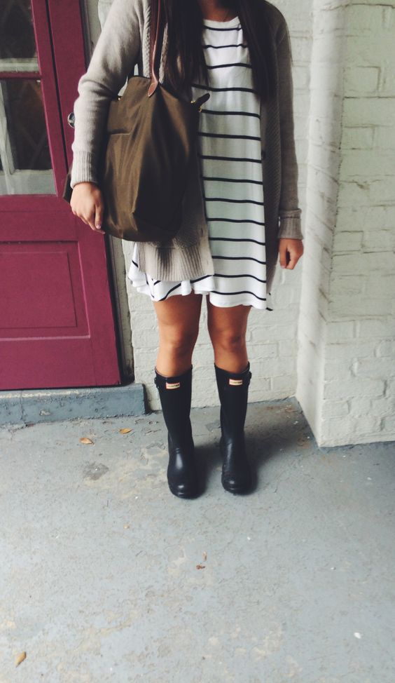 rainy day outfit!! striped dress, oatmeal cardigan, hunter boots, and olive…