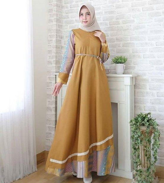 Model Baju Gamis Batik Kombinasi Kain Polos Simple Mustard