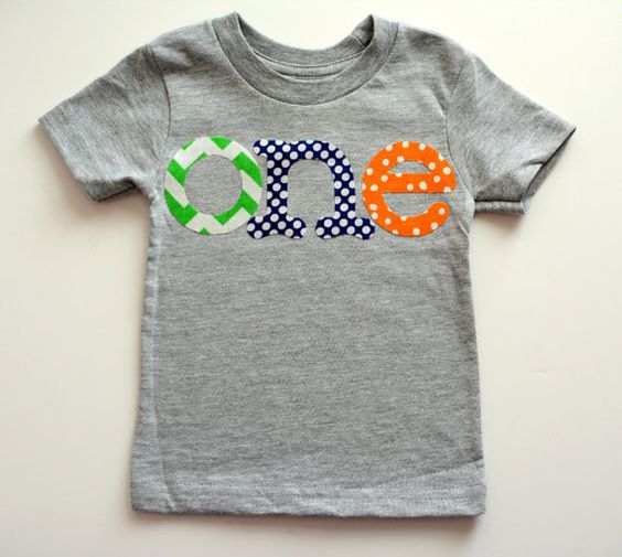 """Baby Boy first birthday shirt - """"ONE"""" letters available in ..."""