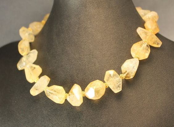 Honey Lemon Tea Large Citrine Chunk and Bali Gold Vermeil Bead Necklace with Bali Vermeil SClasp and Gold Filled Extender Chain