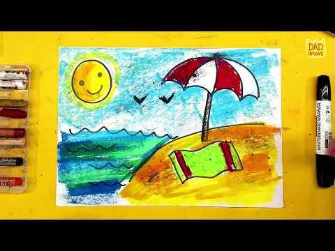 رسم منظر طبيعي للأطفال الشاطئ والبحر Youtube Animation Painting Art