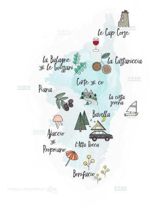 Corse travel Map - Carte illustrée de la Corse - France