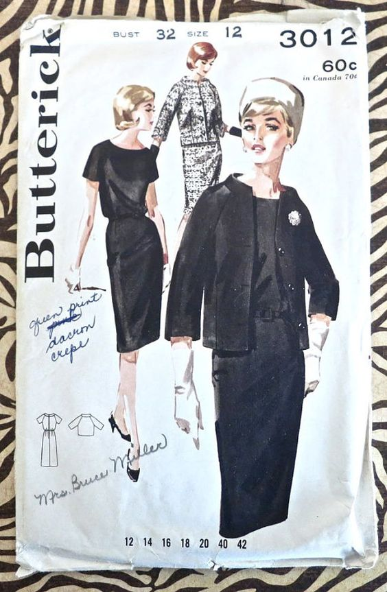 Butterick 3012  Vintage 1960s Womens Dress Suit by Fragolina. The age when women were coming out of the  custom fit corset and into the Lycra body shapers.  Less restriction of the bodice.