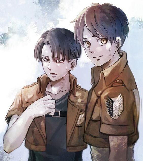 Attack on Titan OMG Eren looks so happy. You can just see how much he looks up to Levi: