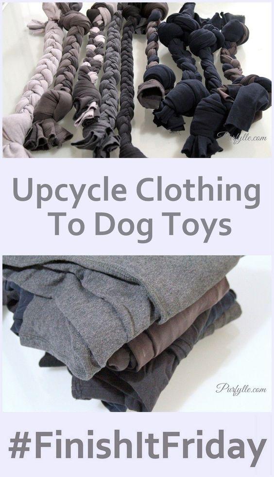 Old sweat pants make great dog toys!
