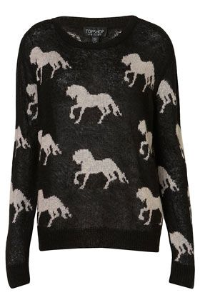 Knitted All Over Horses Jumper ++ topshop