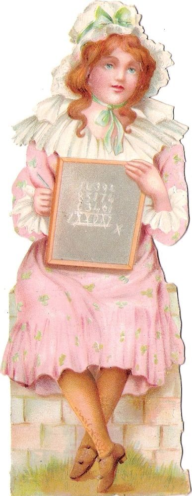 Oblaten Glanzbild scrap die cut Kind  15,4cm child lady Dame Tafel girl Mädchen: