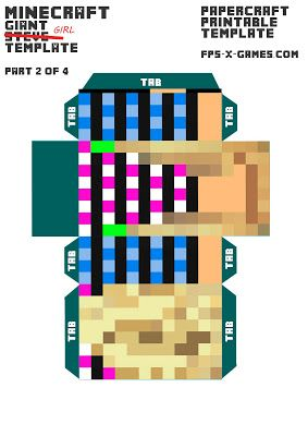 Minecraft girl printable template character 2 of 4 for Minecraft cut out templates