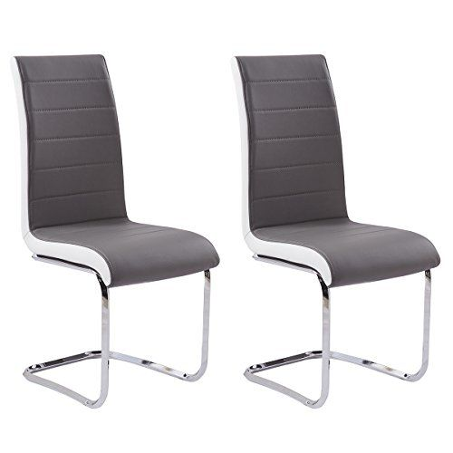 Gizza Dining Chairs Modern Artificial Leather Grey White Side