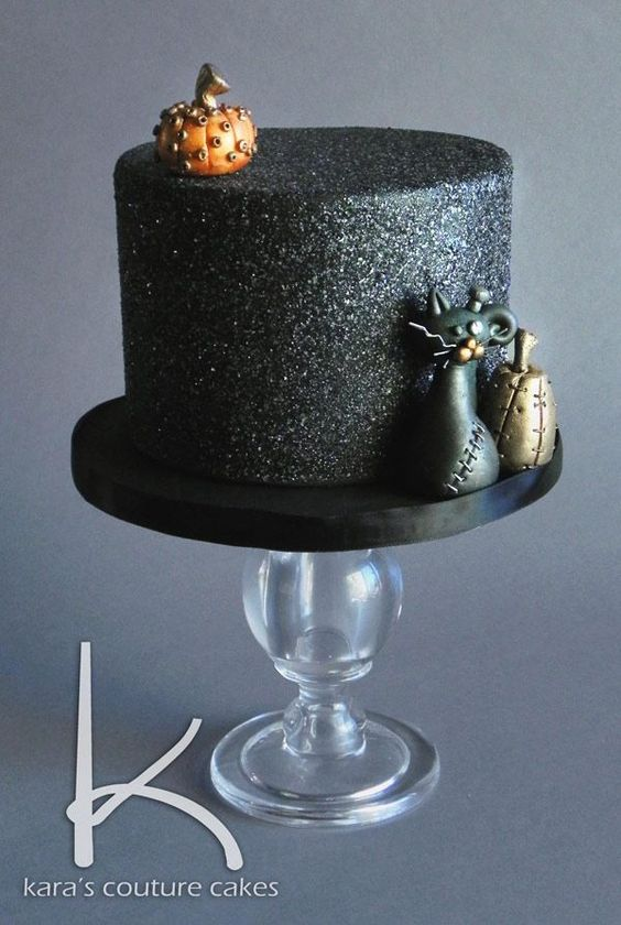 Steampunk Halloween Cake with Edible Gelatin Glitter by Kara's Couture Cakes