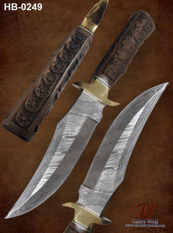 "RaB Cutlery Custom Forged Damascus Steel 8.0""Fixed Blade Hunting Knife (HB-0249) #RaB"