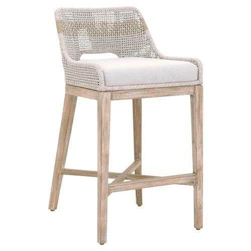 Theodore Modern Classic Grey Woven Fixed Cushion Mahogany Bar Stool Bar Stools Wood Bar Stools Counter Stools