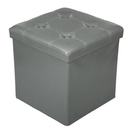 WM_$24 Buy Storage Ottoman Faux Leather Collapsible Foldable Seat Foot Rest  Coffee Table Color GREY at Walmart.com - Storage Ottoman Faux Leather Collapsible Foldable Seat Foot Rest