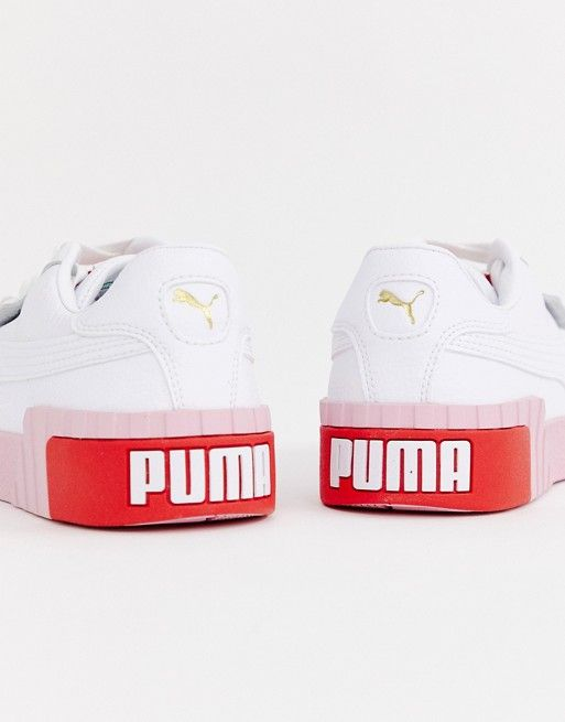 Puma Cali white and pink trainers | ASOS | Pink sneakers ...