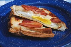 camping - pie iron bacon and egg sandwiches