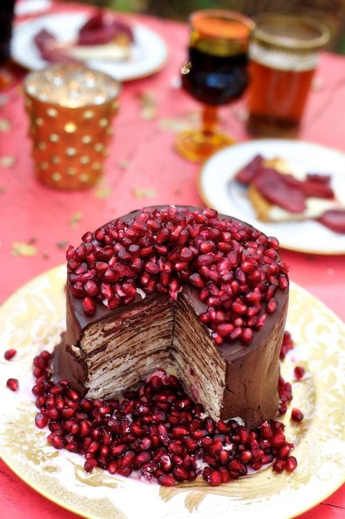 pomegranate chocolate cake  - is that a beer I spy in the background???