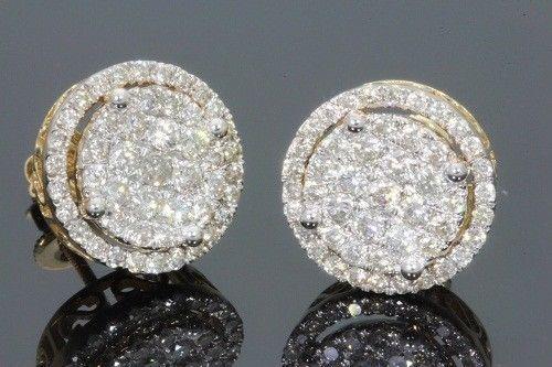 Men/'s Round Lab Diamond Micro Pave Set Two Tone Gold Stud Earrings