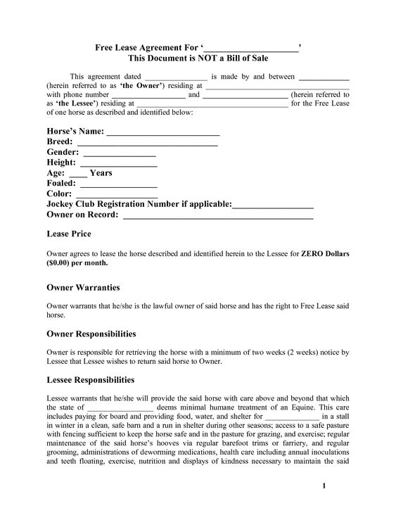 Horse Template Printable Free Basic Lease Agreement