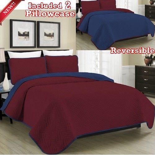 3pc Bedspread Quilt Set King Burgundy Navy Coverlet Solid Pillowcase Fashion Men Blissfulliving Modern Mens Bedding Sets Bed Spreads Bed Linens Luxury