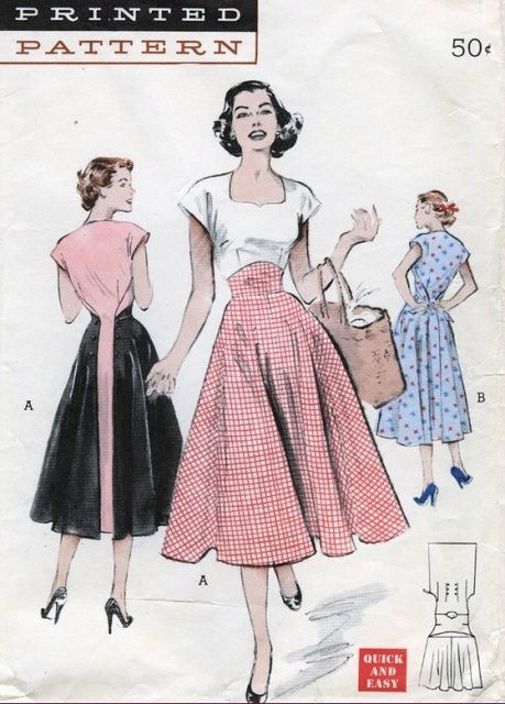 1950s Butterick Pattern 6150 WALK AWAY Wrap Dress Button Back Really Cute Style: