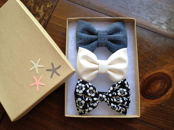 Denim, floral and winter white bow lot for fall. on Etsy, $11.00