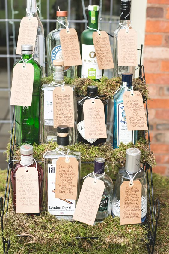 Different gin bottles representing the tables at the wedding. Table plan inspiration. For more inspiration visit www.weddingsite.co.uk