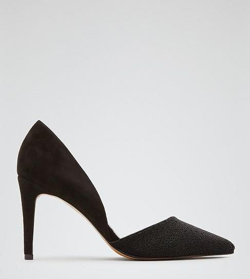 Reiss Brina Sparkle EMBELLISHED ASYMMETRIC COURT SHOES