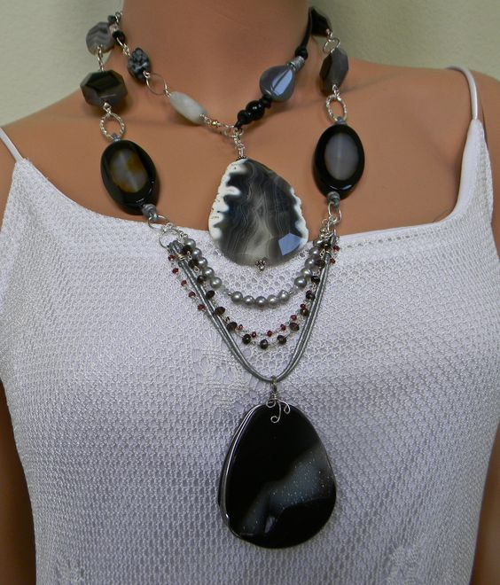 Agate Druzy Geode Pendant Necklace. Mixed media: leather, 14kt gold, Sterling Silver. Agate, Onyx, Pearls, Rutilated Quartz.