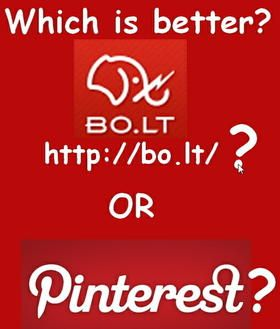 Great article showing the difference between Pinterest and Bo.lt. I  personally will continue to use both. Both are a great way to share what  is on the web in a visual way but to summarize this article, Pins are  about Pinterest whereas Bolts are also about sharing but protects the  original creator and makes the source of the ideas and images more  readily available. ;-) When I bolted this page mine was the only comment at the bottom of this page (-;