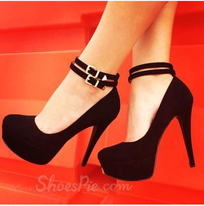 Fashionable Black Suede Double Ankle Strap High Heel Shoes | Plus