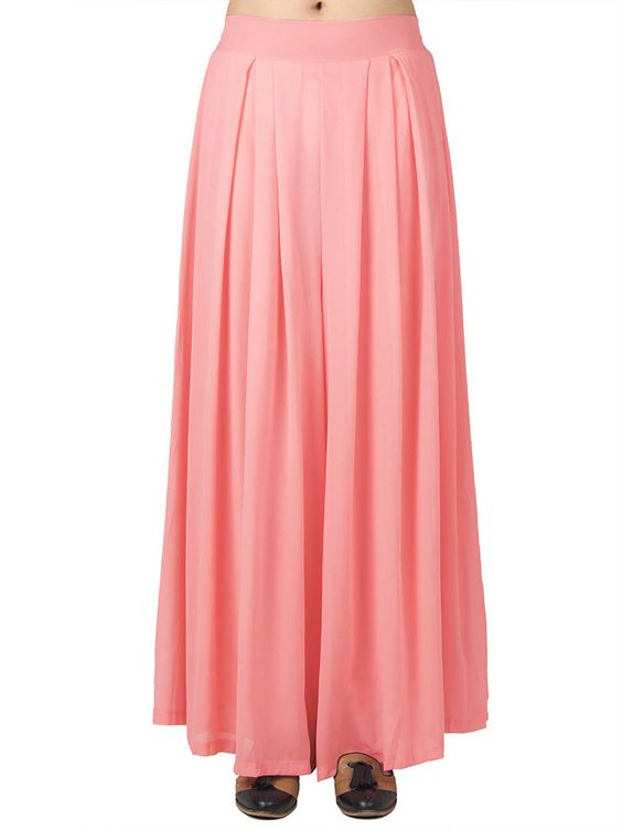 Bright Pink Pleated Chiffon Wide Leg Palazzo Pants