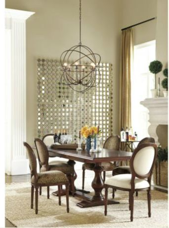 Orb chandelier over dining room table ballard designs for Ballard designs dining room