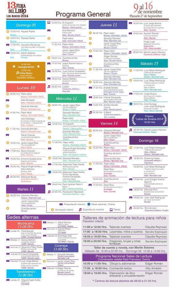 Programa General 13 Feria del Libro Los Mochis 2014 del 9 al 16 de Noviembre.