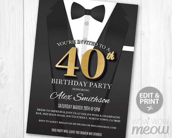 40th Birthday Invite Invitation FORTY Black Tie by wowwowmeow