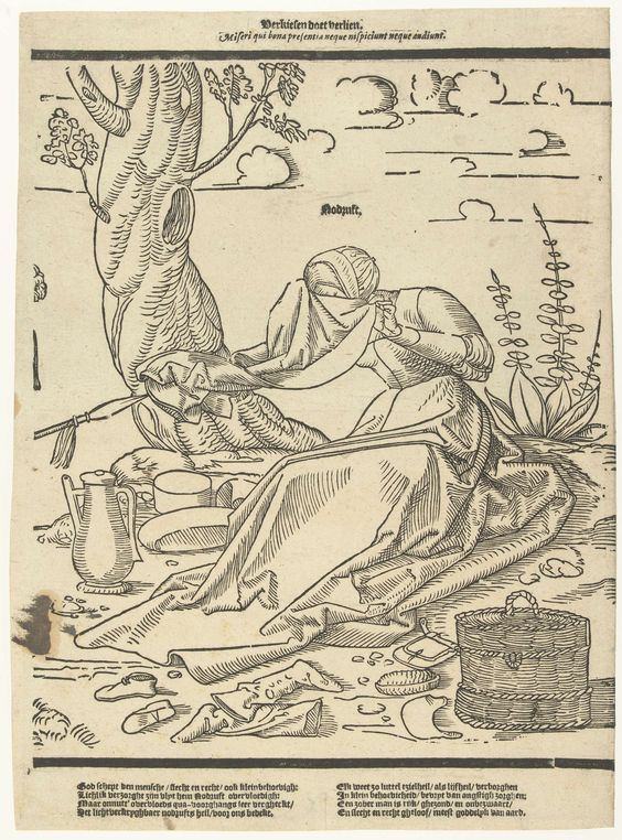 Anonymous | Kiezen doet verliezen, Anonymous, 1520 - 1560 | Eén van acht moraliserende spreuken. Nooddruft zittend op de grond, huilend, veegt haar gezicht af aan een doek. Verschillende attributen liggen om haar heen. Tekst onder prent.
