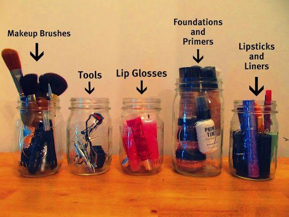 DIY Makeup Storage, Mason Jars and Magnetic Frame